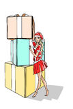Christmas Woman at three enormous gifts. A christmas girl standing a three enormous gifts royalty free illustration
