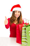 Christmas woman  thumbs up Royalty Free Stock Photos