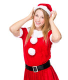 Christmas Woman touch her hat Stock Photos