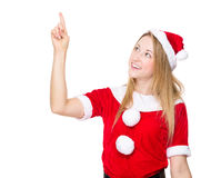 Christmas woman touch the imaginary button Stock Images