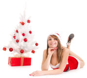 Christmas woman and tree Stock Photography