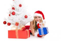 Christmas woman and tree Royalty Free Stock Photography
