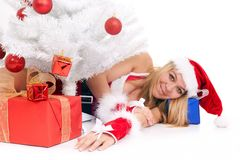 Christmas woman and tree Stock Photos
