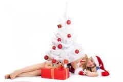 Christmas woman and tree Royalty Free Stock Photo