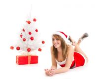 Christmas woman and tree Royalty Free Stock Images