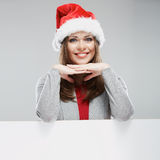 Christmas woman, white banner against gray background. White ad Stock Images