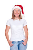 Christmas woman in white t-shirt Royalty Free Stock Photography