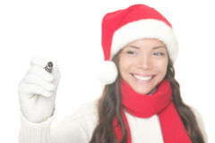 Christmas woman writing on copy space Stock Photography