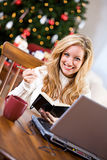 Christmas: Woman Writing In Notebook While Online Stock Images