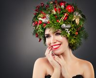 Christmas Woman with Xmas Decorations Stock Photography
