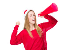 Christmas woman yell with megaphone Royalty Free Stock Images