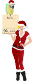 Christmas women with ara bird and menu card Royalty Free Stock Photography