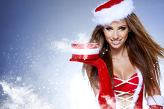 Christmas women with gifts Stock Photos