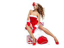 Christmas women with gifts Royalty Free Stock Photo