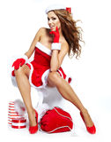 Christmas women with gifts Royalty Free Stock Photos