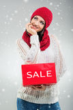 Christmas Women, holds the hands of sale gift boxes Royalty Free Stock Images