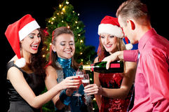 Christmas women and man Stock Image