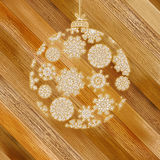 Christmas wood background with ball. + EPS8. Vector file Royalty Free Illustration