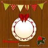 Christmas wood background with bunting and bauble Stock Photos
