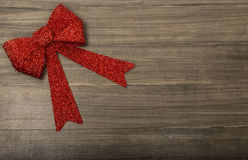 Christmas wood Background with Red Ribbon Stock Photo