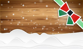 Christmas wood. Christmas background with ribbon and wood pattern Royalty Free Stock Photos