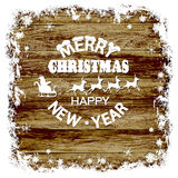 Christmas wood background, snow frame, Santa Claus, reindeer on a wooden background Royalty Free Stock Image