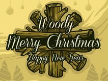 Christmas wood star royalty free illustration