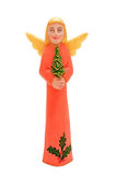 Christmas wooden angel. Catholic Christmas angel with Christmas tree in hand Stock Images