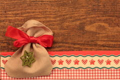 Christmas wooden background. With bag Stock Image