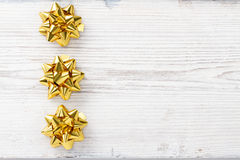 Christmas Wooden Background, Bow Golden Stars Decoration Royalty Free Stock Photos