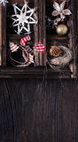 Christmas wooden background with box of toys Stock Photo