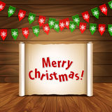 Christmas wooden background with bunting postcard Stock Photos