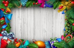 Christmas Wooden Background Vector Illustration
