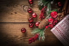 Christmas wooden background with cone and snow tree. Copy space Royalty Free Stock Photography