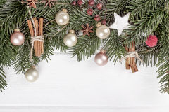 Christmas wooden background, copy space. Christmas wooden background, space for a text Stock Photography