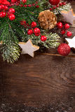 Christmas wooden background with decoration Royalty Free Stock Photos