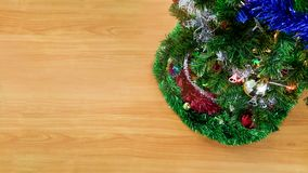Christmas wooden background with christmas decoration and free space. Happy and holiday background concept stock image