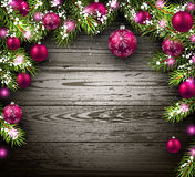 Christmas wooden background. With fir branches and balls. Vector illustration Royalty Free Stock Image