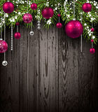Christmas wooden background. With fir branches and balls. Vector illustration Royalty Free Stock Photos