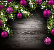 Christmas wooden background. With fir branches and balls. Vector illustration Stock Photo