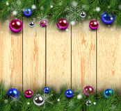 Christmas wooden background Stock Photos