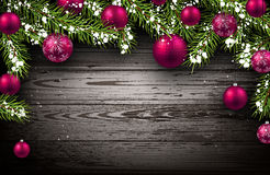 Christmas wooden background. With fir branches and balls. Vector illustration Royalty Free Stock Photography
