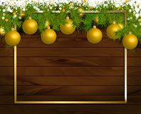 Christmas wooden background vector illustration