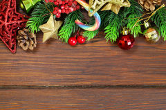 Christmas wooden background with fir branches Royalty Free Stock Image