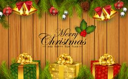 Christmas wooden background with fir branches and gift boxes. Illustration of Christmas wooden background with fir branches and gift boxes Royalty Free Stock Photo