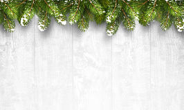 Christmas wooden background with fir branches. And snow. Vector illustration Royalty Free Stock Photography
