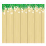Christmas wooden background with fir branches and snowflake. Illustrator 10 Stock Images