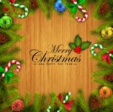 Christmas wooden background with fir tree branches and colorful balls. Illustration of Christmas wooden background with fir tree branches and colorful balls Stock Image