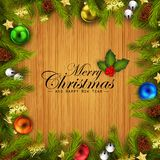 Christmas wooden background with fir tree branches and colorful balls. Illustration of Christmas wooden background with fir tree branches and colorful balls Royalty Free Stock Image