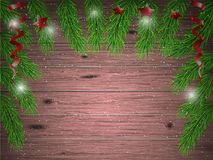 Christmas wooden background with fir tree branches. Christmas wooden background with fir tree branches decor Stock Image